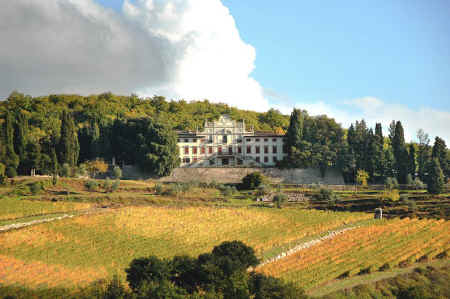 Villa Vistarenni viewed across its vineyards